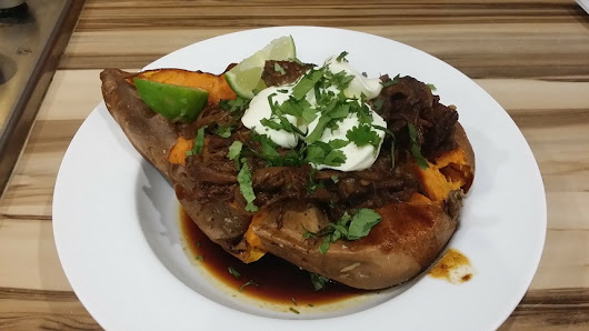 baked sweet potato with slow cooker bbq beef - BigSpud
