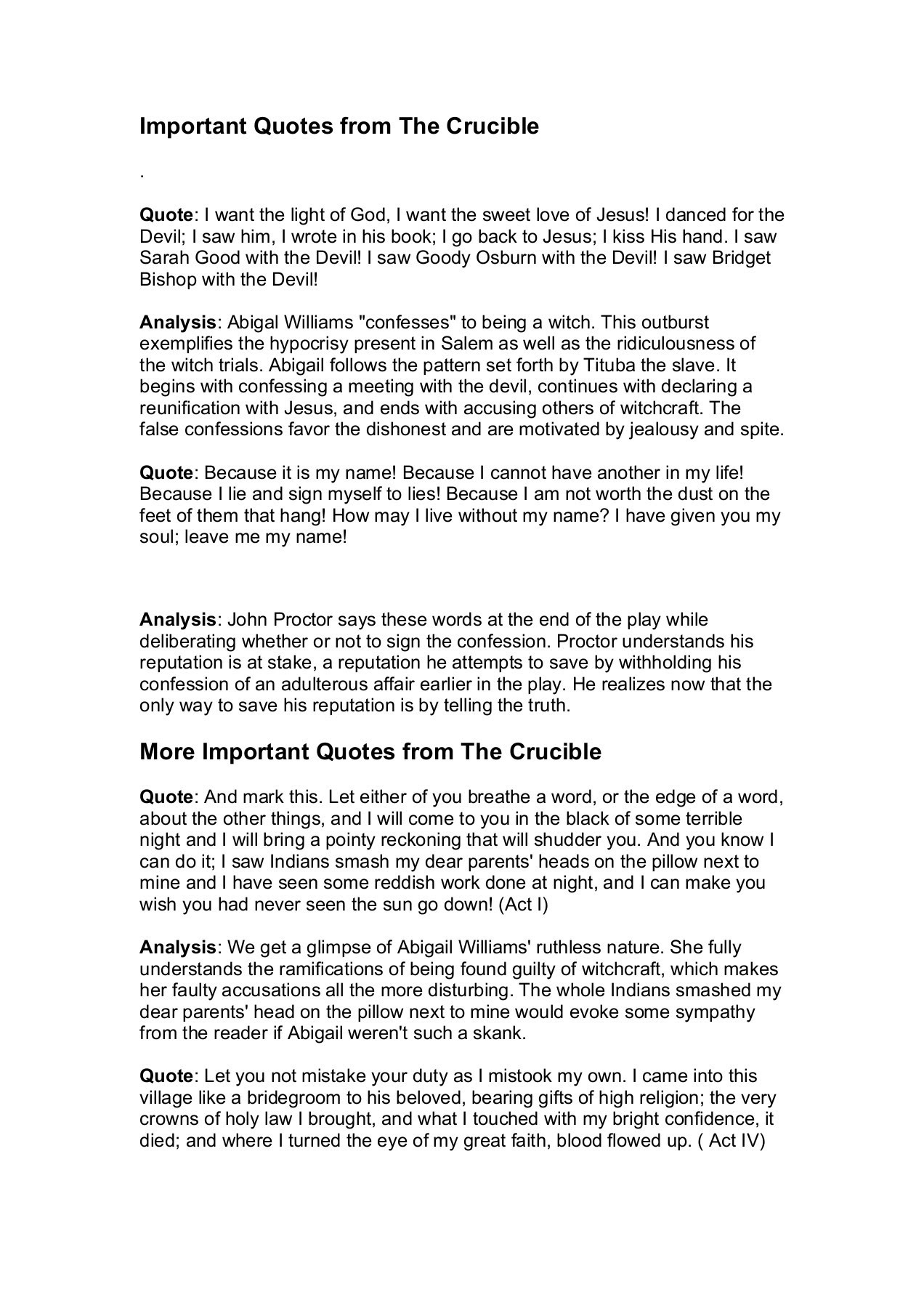 Important Quotes From The Crucible Pages 1 4 Text Version