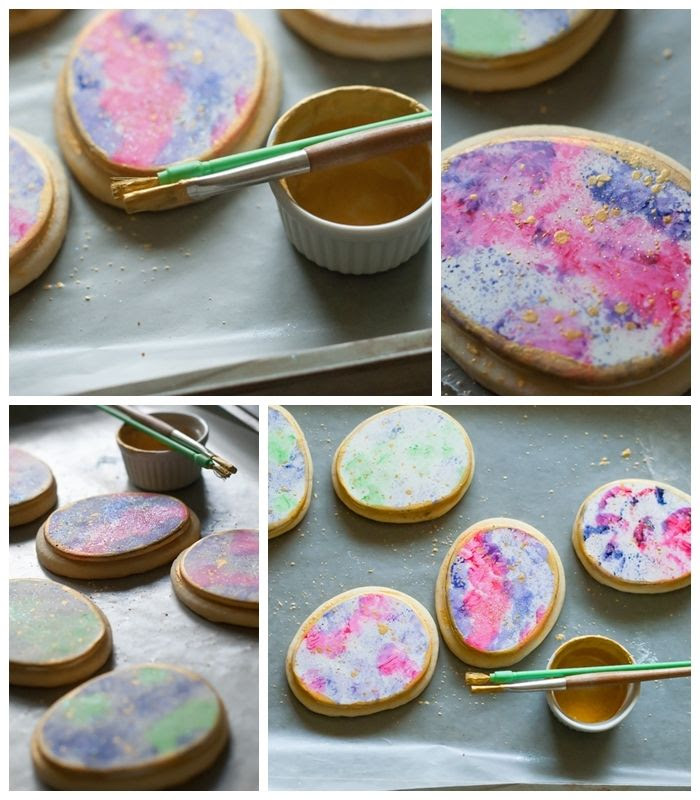 watercolor gold-speckled easter egg decorated cookies > adding gold edge and speckles