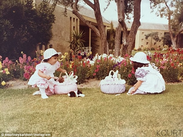 Reminiscing: Kourtney recently shared some photos from egg hunts with Kim on her website