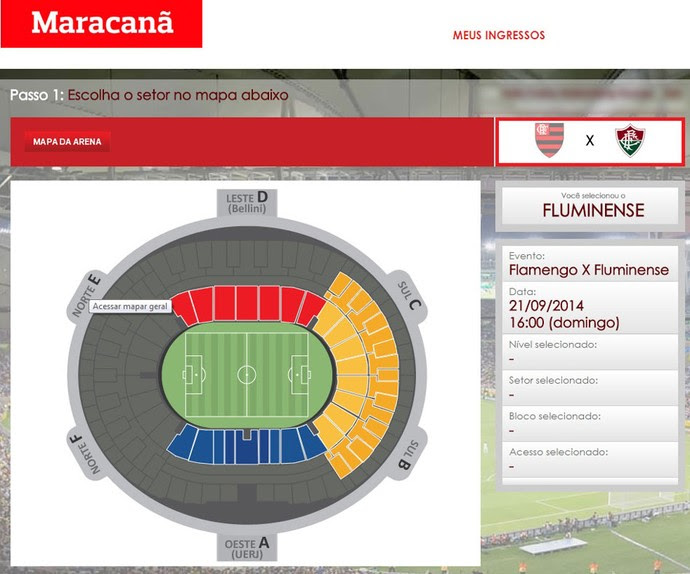 Ingressos Maracanã Flamengo X Fluminense (Foto: Reprodução)