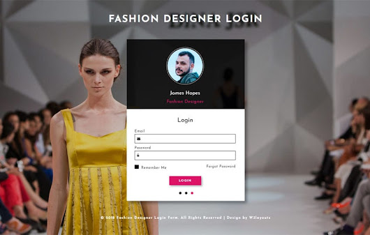 Fashion Designer Login Form Flat Responsive Widget Template