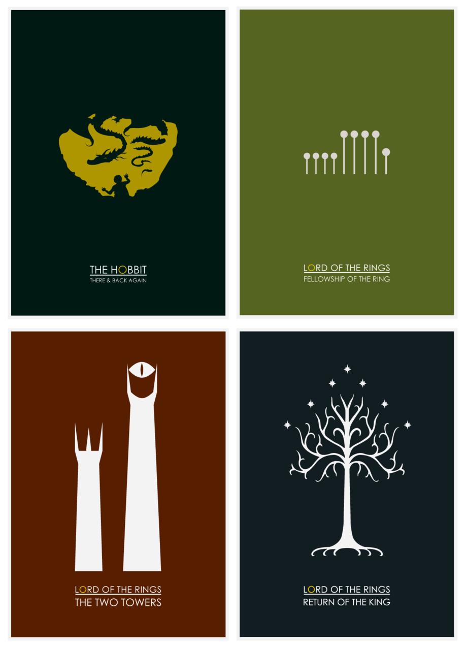 The Hobbit Lord Of The Rings Minimalist Posters Geekpr0n