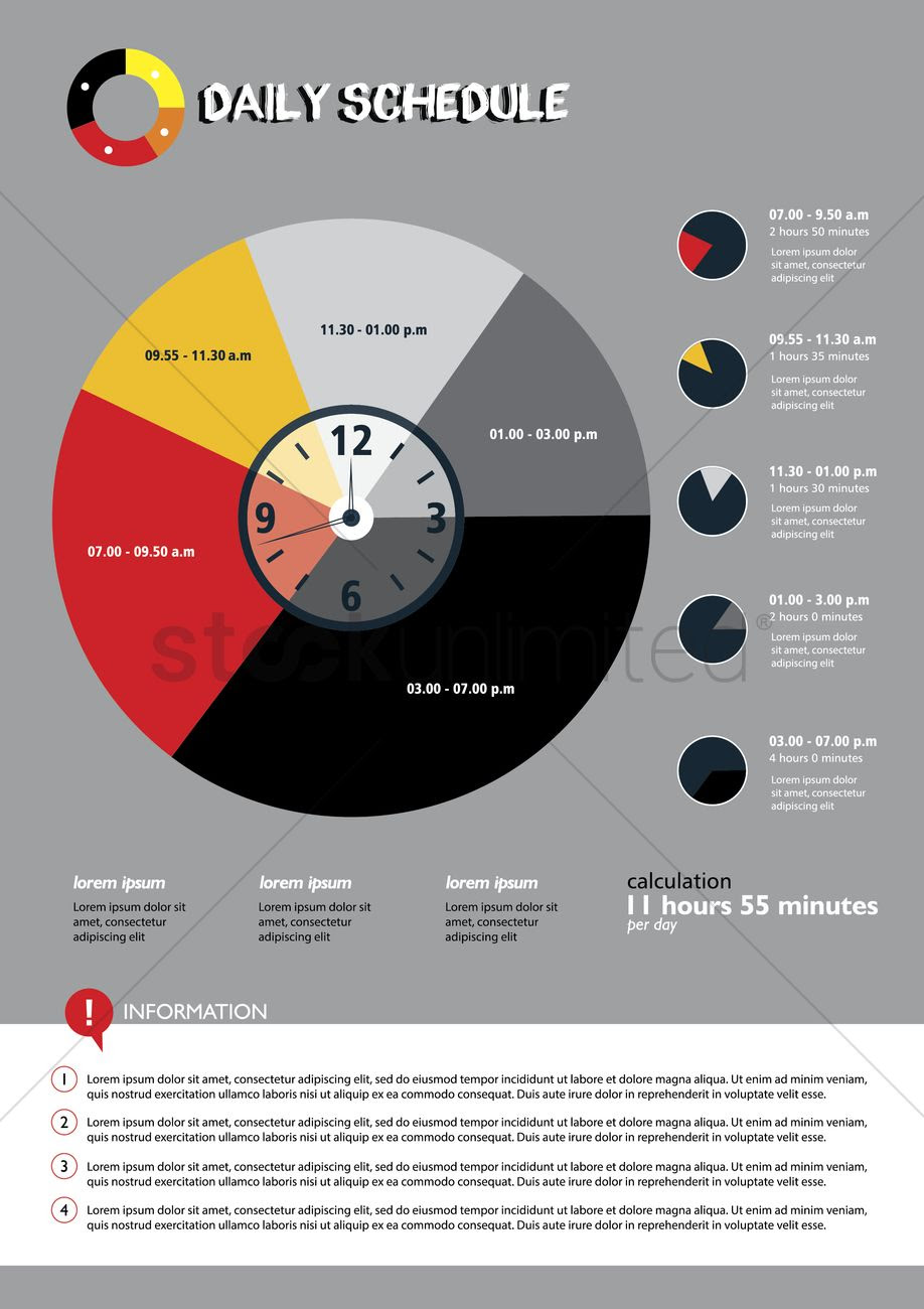 Daily schedule infographic presentation Vector Image - 1538307 ...