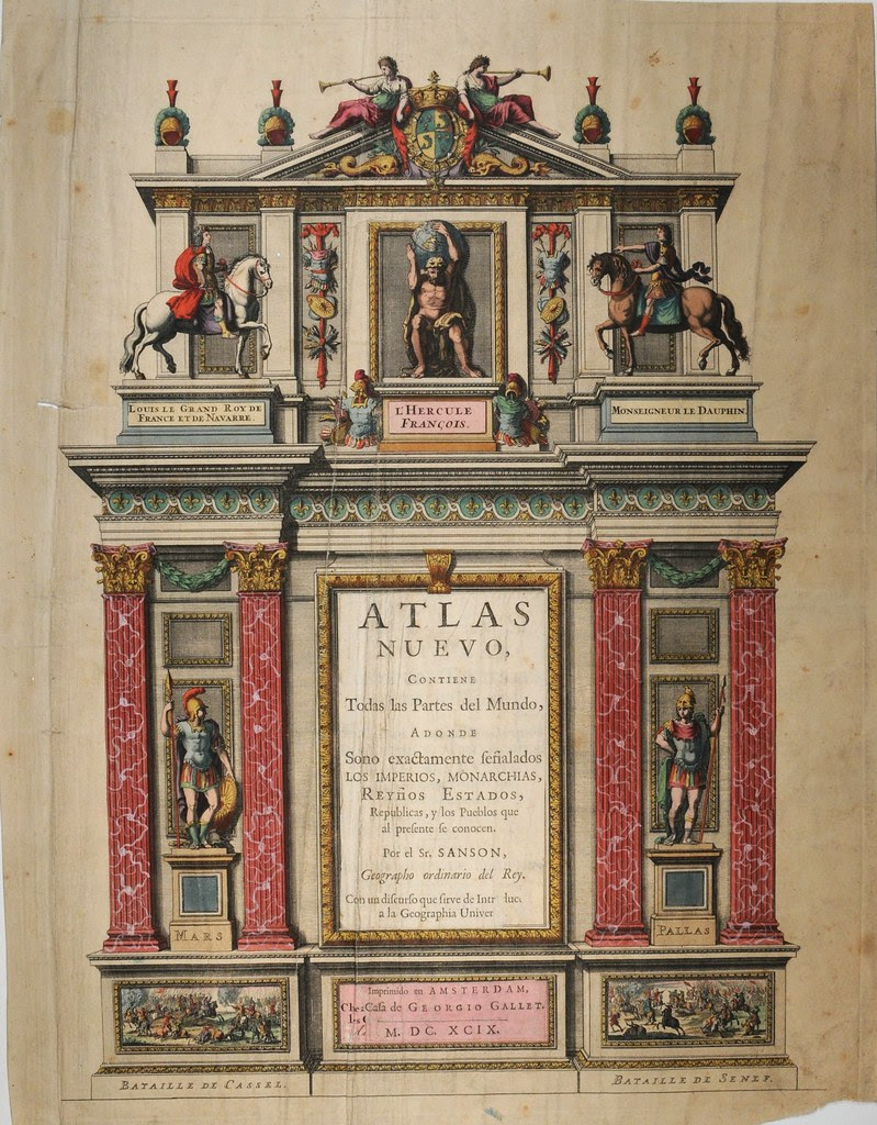 painted Spanish atlas titlepage with classical statue strewn pseudo-fireplace mantle design