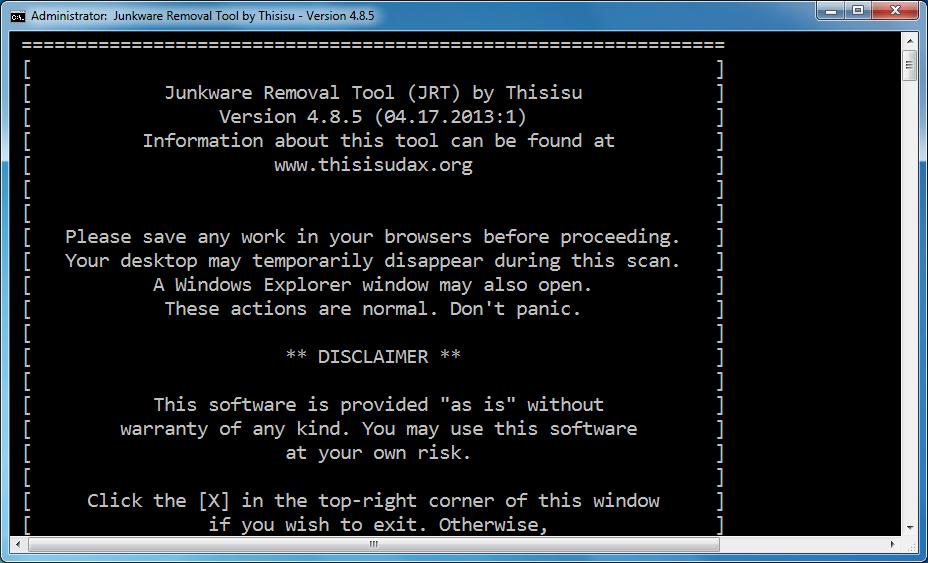اداه مجانية لازالة اشرطة الاداوت والبرامج الغير مرغوب فيها واشرطة البحث والدعاية Junkware Removal Tool 5.0.7