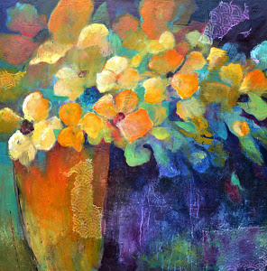 Orange Vase by Filomena Booth by Filomena Booth Acrylic ~ 36 x 36""