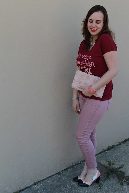 Bleached tee outfit: DIY bleached tee, dusty rose colored Gap skinny jeans, tri-color oxford heels, rosette clutch, pearls, khaki blazer