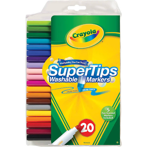 Crayola Washable Markers, Super Tips - 20 count