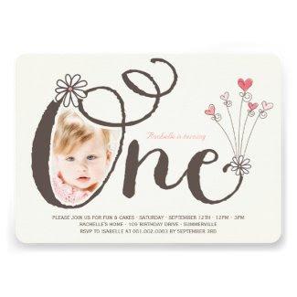 Big Whimsical One Baby Girl First Birthday Photo Custom Invites