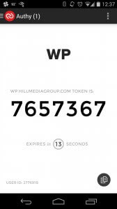 Authy Two-Factor Authentication WordPress Android