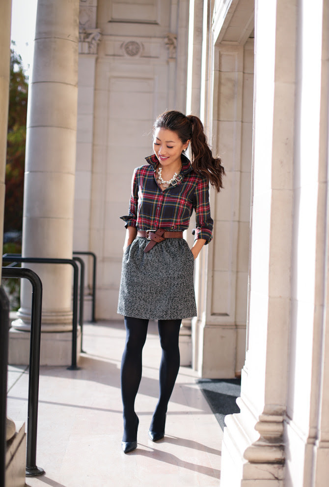 holiday work outfit  christmas plaid print mixing
