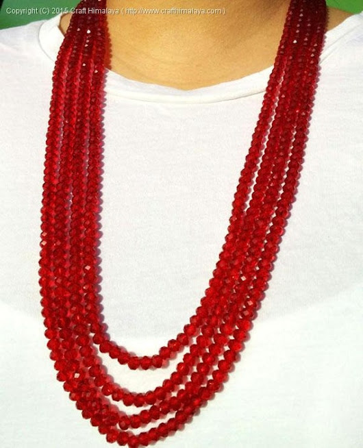 Semi-precious red stone necklace layered necklace by CraftHimalaya