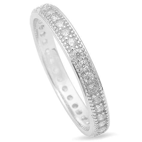 Sterling Silver 925 Vintage CZ Women's Eternity Wedding