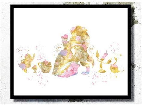 Beauty and the Beast Print Beauty and the beast Watercolor