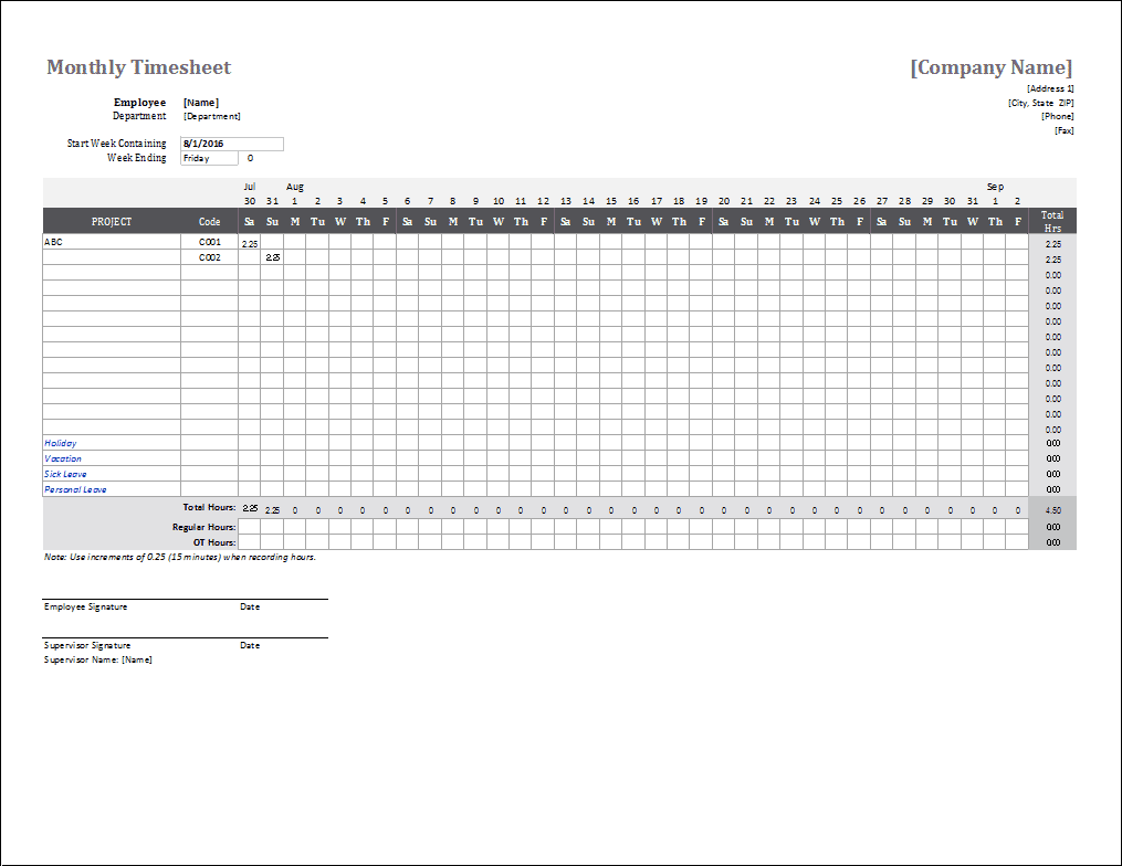Monthly Timesheet Template for Excel