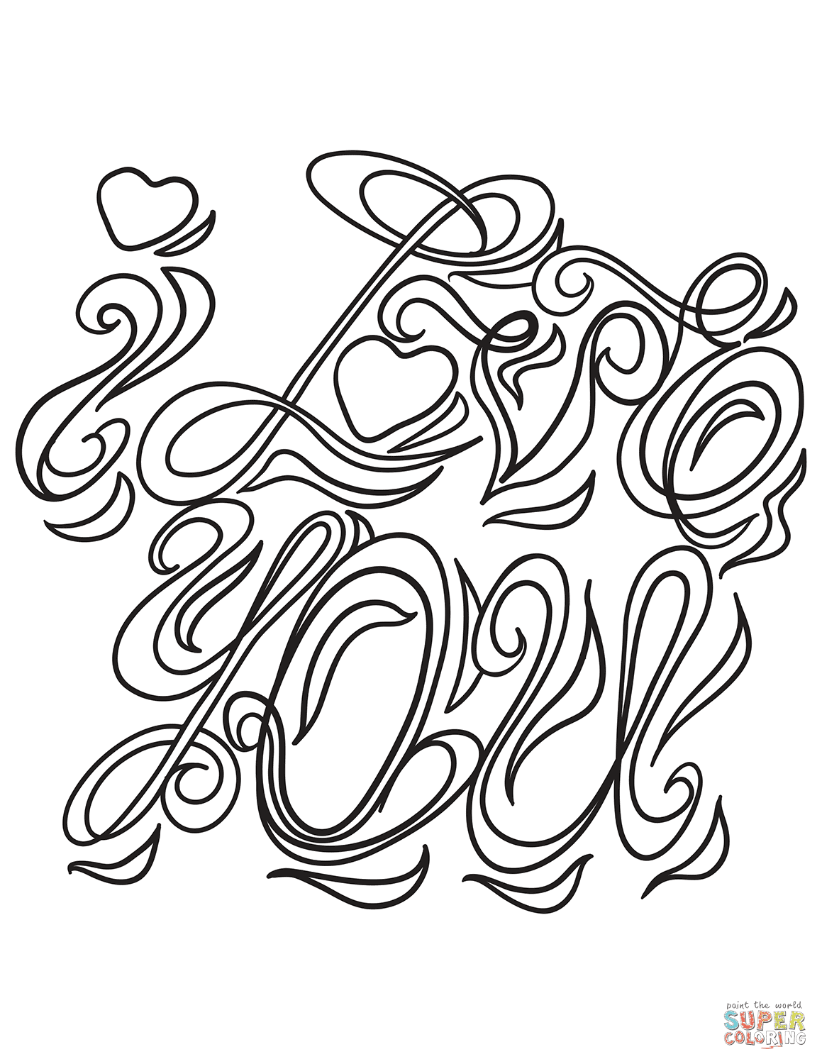 I Love You coloring page | Free Printable Coloring Pages