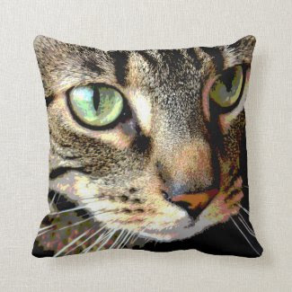 Tabby Cat Art Throw Pillows