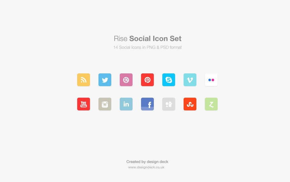 Rise Social Icon Set (PSD)