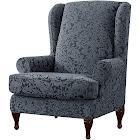 Subrtex 2-Piece Elegant Jacquard Wing Chair Slipcovers, Grayish Green