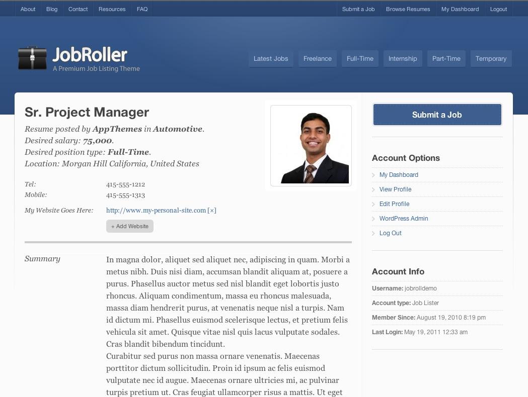 job seeker resume