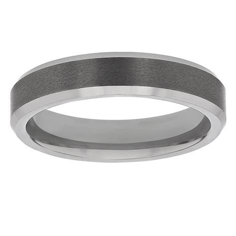Tungsten Comfort Fit 5 mm Satin Wedding Band with Beveled