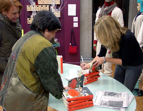 Ann Hood signing his book