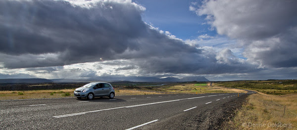 empty roads, our baby rental car