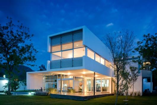 contemporary architecture  house  in el uro 4 night view