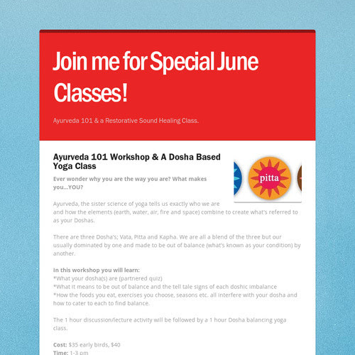 Join me for Special June Classes!