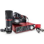 Focusrite Scarlett 2i2 Studio USB Audio Interface with Microphone, Headphones, stand clip