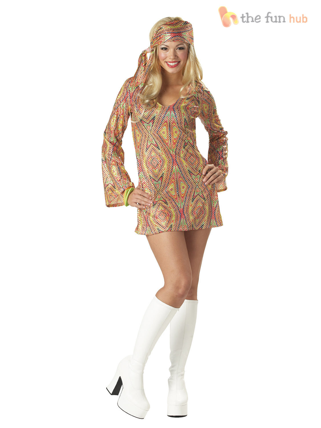 ladies 1970s sequinned disco fancy dress costume adult