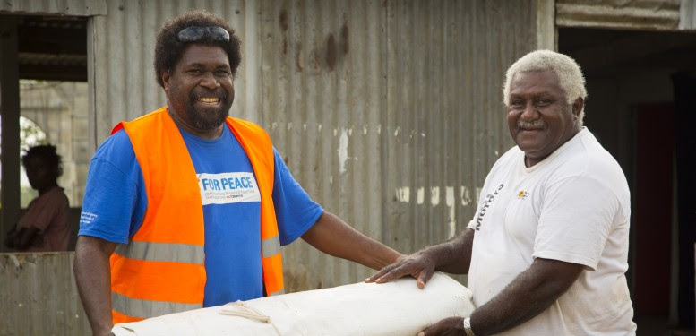 On Friday 13 March 2015, category 5 Tropical Cyclone Pam lashed the islands of Vanuatu bringing with it destructive winds surpassing 300kph, heavy rainfall, storm surges and flooding. Large parts of the country were severely affected.   Act for Peace (AfP) have supported the immediate needs of the disaster affected population (initial response) as well as their medium/longer term needs (early recovery). Initial response included the provision of WASH materials (hygiene kits) and water purification units, assistance with food distribution efforts along with seeds and farming tools to revive homestead gardens. These activities will be undertaken through local partner the Vanuatu Christian Council (VCC).  Act for Peace in partnership with the Vanuatu Christian Council (VCC) has distributed tarpaulins to churches that were identified as appropriate cyclone evacuation centers (those with strong structural elements as well as bathroom and cooking facilities). The tarpaulins are providing important temporary roofing to allow churches to return as quickly as possible to their regular function not only as a place for church services but for important community gatherings including acting as food distribution areas, mothers group venue, youth group center and general spiritual and mental health support space for the community suffering stress and trauma following Cyclone Pam.  Churches are a significant community centre point for people to come together to connect and support each other.  With so many church roofs destroyed by Cyclone Pam some churches have had to halt community activities for weeks following Cyclone Pam meaning communities were not able to connect and continue their support activities.   Act for Peace in partnership with the Vanuatu Christian Council (VCC) ran independent needs assessments across several islands determining the requirements for the churches.  On many occasions VCCâs distribution of tarpaulins arrived more quickly to churches that had applied