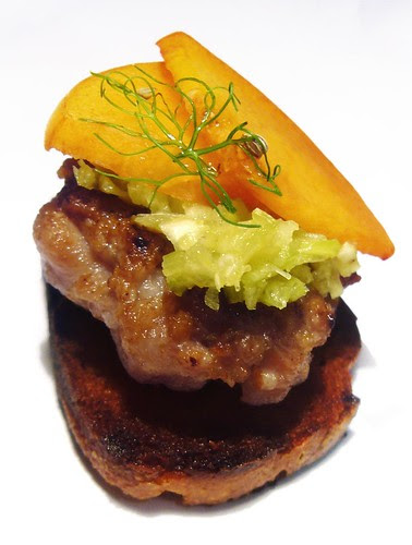 Crostini with spiced pork patty, celery cream and yellow peach