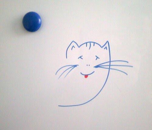 Котик рисованный