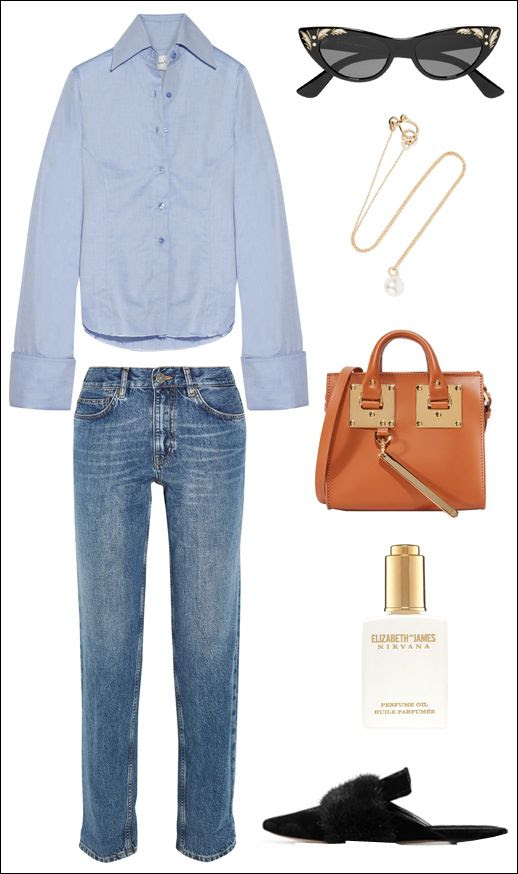 Le Fashion Blog Fall Style Marques Almeida Oversize Sleeves Long Cuffs Cat Eye Gucci Sunglasses Pearl Necklace Sophie Hulme Bag MIH Jeans Elizabeth James Nirvana Oil Sanayi313 Velvet Slippers