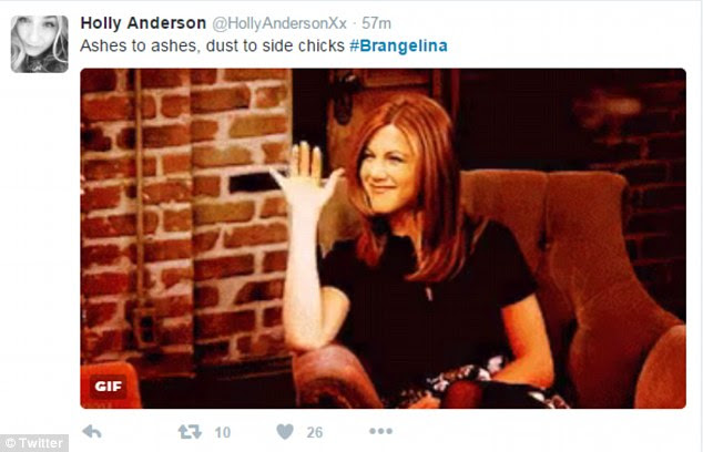 Anniston seemingly waving goodbye to Angelina, who married Brad after the pair split