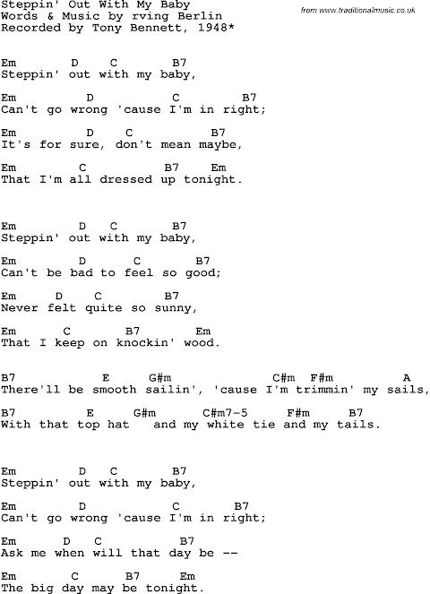 Tony Bennett Steppin Out With My Baby Lyrics