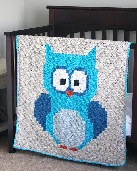 Baby Owl Corner-to-Corner (C2C) Blanket (Crochet)