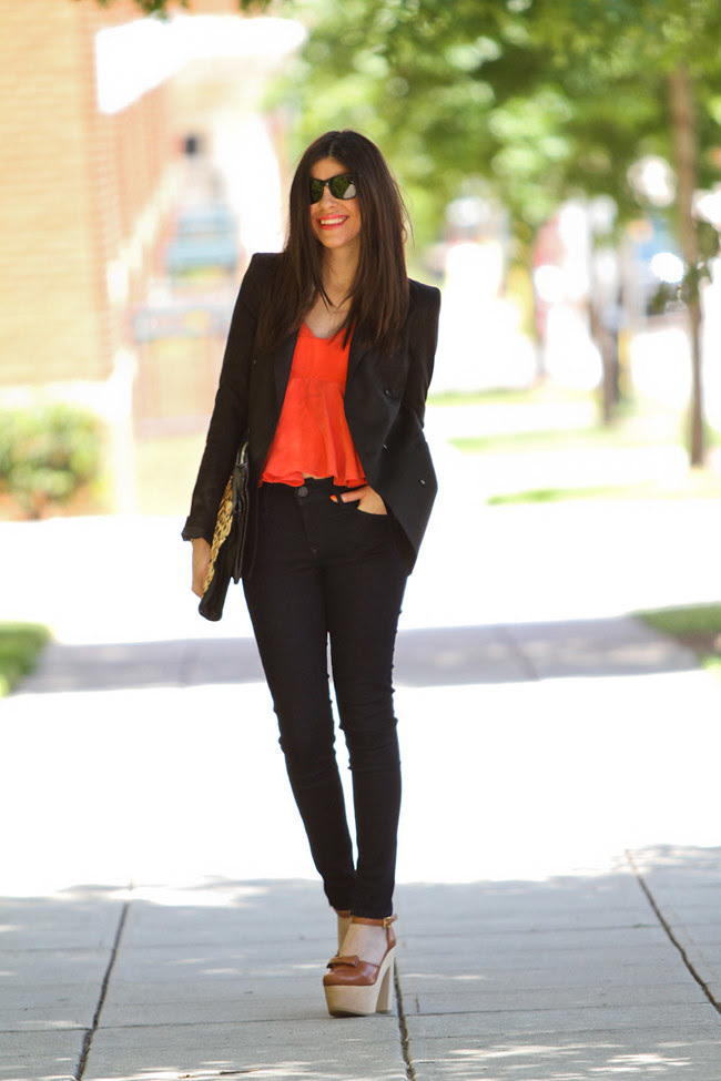 Neon Orange Fashion, Black Orchid Skinny Jeans, Black Blazer, Marc Jacobs Gold Watch, Leopard Print Clutch bag, Opening Ceremony Chloe Sevigny Mary Janes