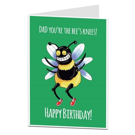 Dad Birthday Card   Bee's Knees   Funny Quirky   LimaLima