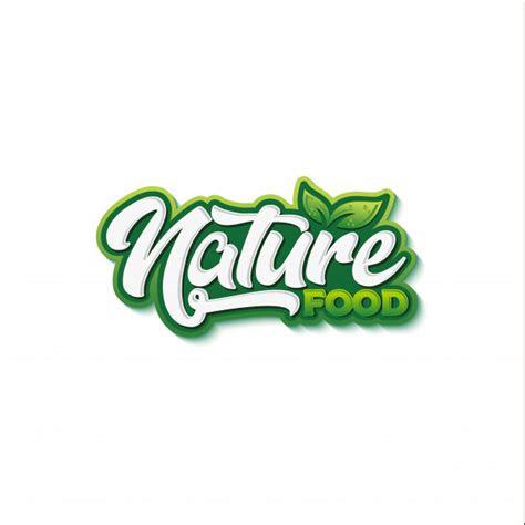 natural food typography logo design vector premium