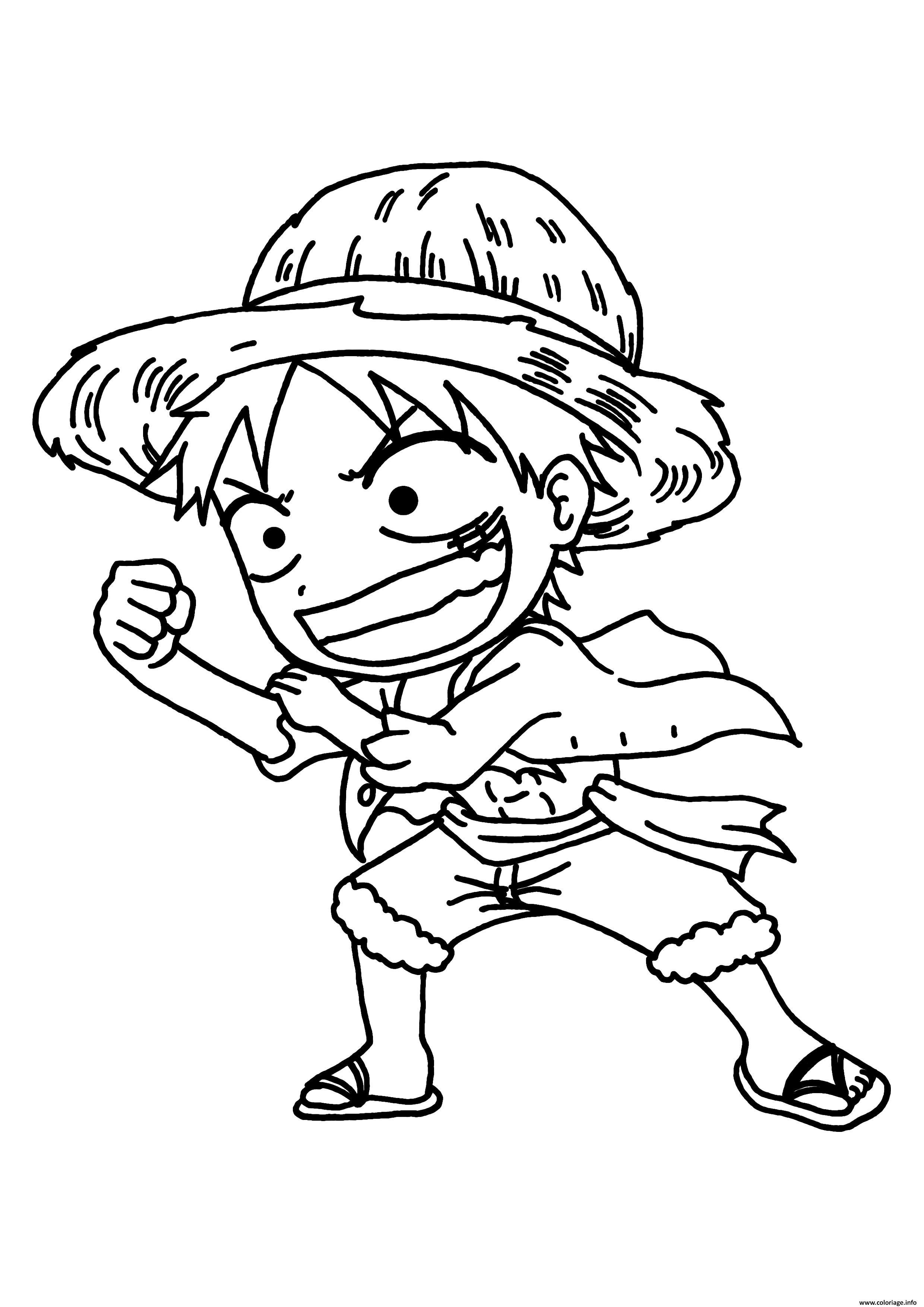 Coloriage Luffy Mini e Piece Manga Dessin  Imprimer
