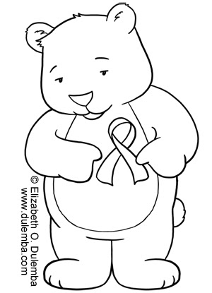 Dulemba coloring page tuesday tribute bear for Breast cancer ribbon coloring pages