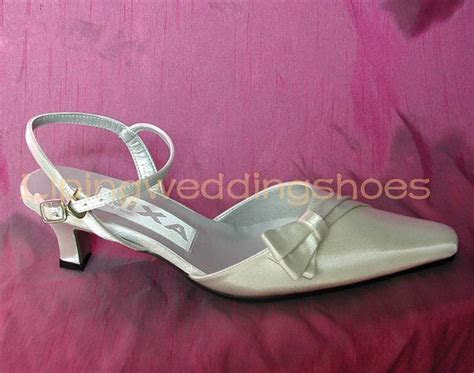 ivory satin wedding shoes pointy toe slingback low heel
