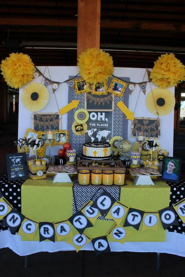 """Oh the Places He'll Go"", Dr. Seuss Quote, Graduation Party, Yellow & Black, Travel, High School - Bright Future, Dessert Table, Cake & Cupcakes, Congratulations, 2013, Patterns, Arrows, Paper Fans, Banners"
