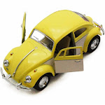 1967 Volkswagen Classical Beetle, Yellow - Kinsmart 5375DY - 1/32 scale Diecast Model Toy Car
