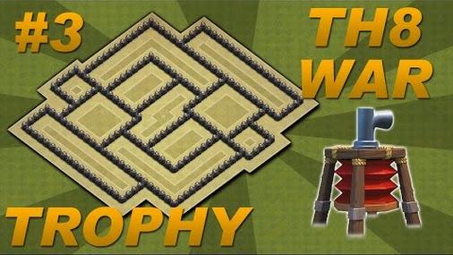 Best town hall 8 th8 trophy war base design air sweeper 4 mortars