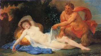 A Nymph and a Satyr  (attributed to Pierre-Charles Trémolières) oh no, nakedness!