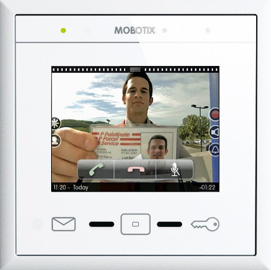 Mobotix MxDisplay+ home surveillance intercom touchscreen.